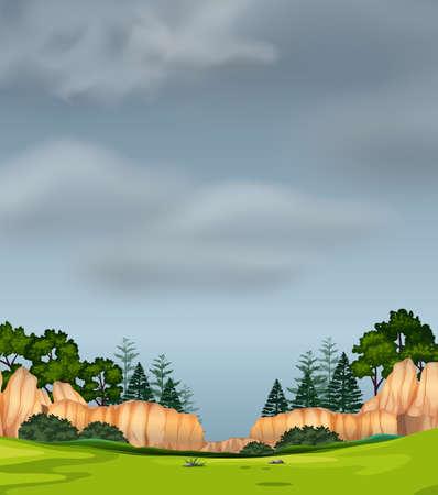 Stormy sky nature scene illustration