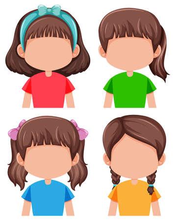 Group of faceless girls illustration