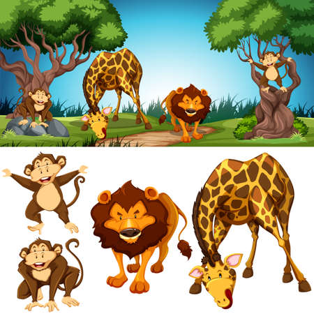 Set of animals in nature scene illustration