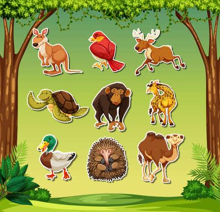 Set of wild animal sticker illustration Illustration