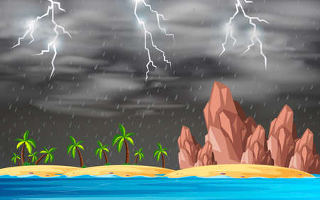 Stormy island background scene illustration