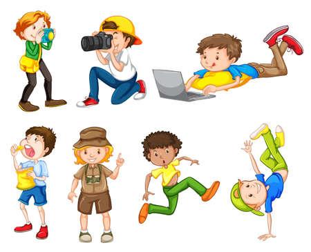 Set of different boys illustration 向量圖像