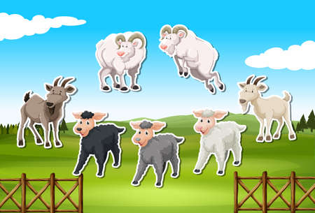 Set of sheep and goat sticker illustration