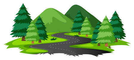 Natural scene with road illustration