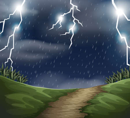 Outdoor storm landscape scene illustration