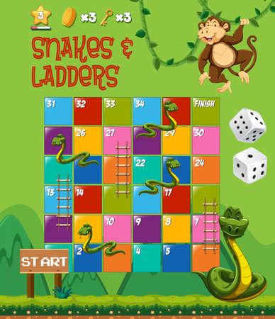 Illustrazione del gioco da tavolo di serpenti e scale Vettoriali