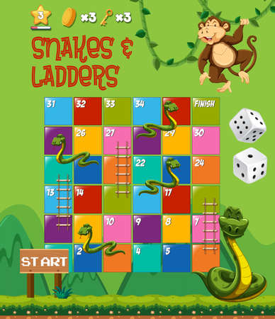 Snakes and ladders board game illustration Ilustracja
