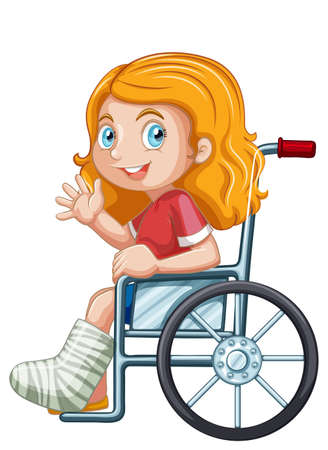 Young girl in wheelchair illustration 일러스트