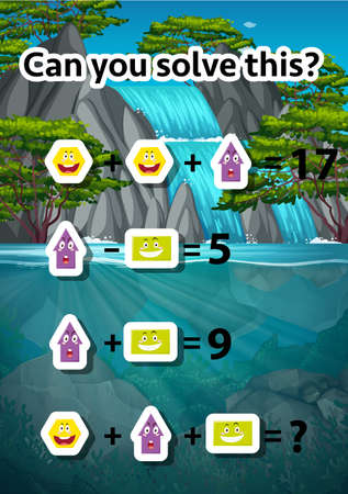 Can you solve this waterfall scene illustration Ilustrace