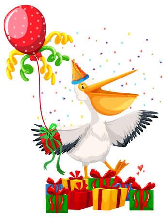 Happy party pelican scene illustration