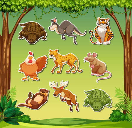 Fun animal sticker pack illustration