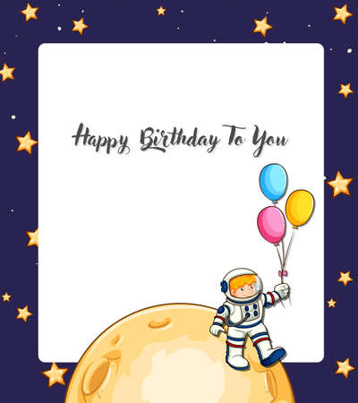 Happy birthday space card illustration Illustration