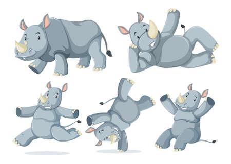 Set of cute rhinos illustration