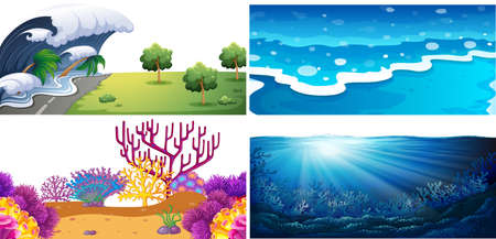 Set of water scenes illustration Vettoriali