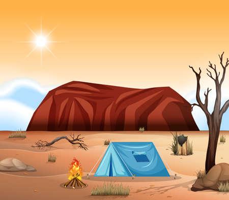 Uluru outback camping scene illustration