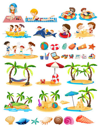 Set of beach theme  illustration