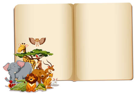 Set of animals with blank book illustration