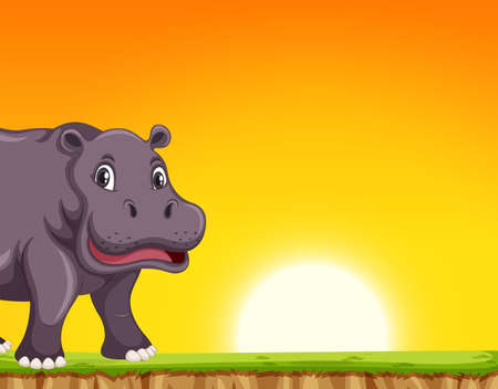 Hippo in sunset scene illustration 일러스트