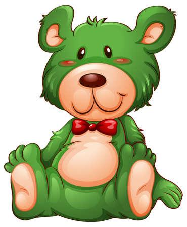 Green bear white background illustration Çizim