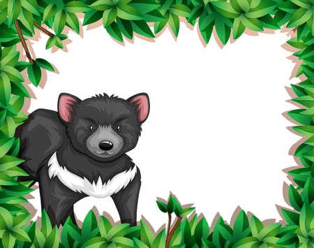 Cute animal in nature frame illustration Çizim