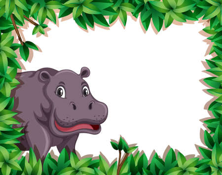Hippopotamus in nature frame illustration