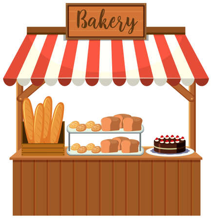 A bakery food stall illustration