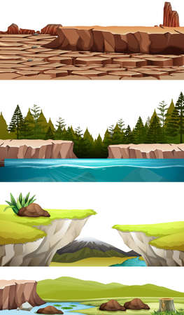 Set di illustrazioni di paesaggi naturali