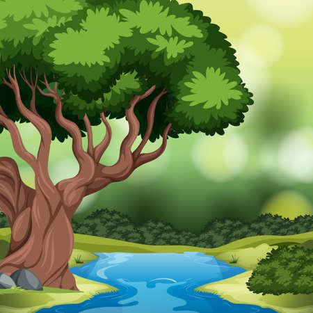 A forest background scene illustration