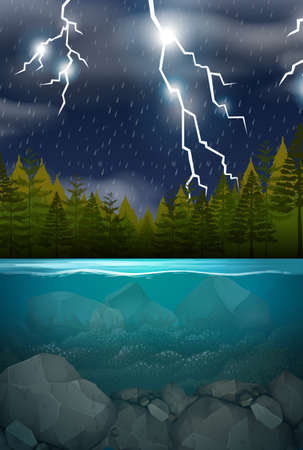 Lightning storm wood lake scene illustration Banco de Imagens - 124948730