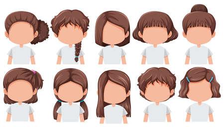 Satz Mädchen mit unterschiedlicher Frisurillustration hairstyle Vektorgrafik