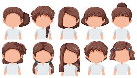 Set of girl with different hairstyle illustration Imagens - 124948734