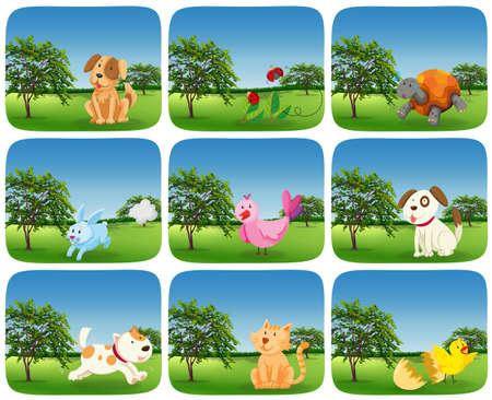 Set of animals in outdoor scene illustration