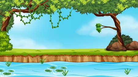 A nature pond landscape illustration Иллюстрация