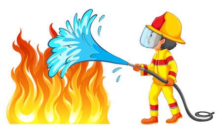 Firefighter putting out a fire illustration Vektorové ilustrace