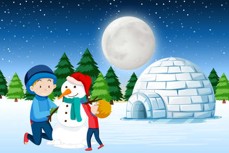 Father and son building snowman illustration