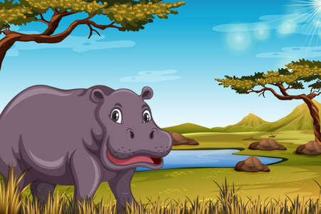 Hippopotamus in the savanna scene illustration