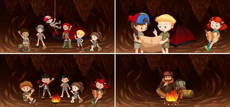Set of camping kids in cave illustration