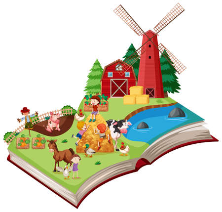 Farm scene pop up book illustration