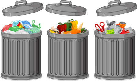 Set of trash can illustration