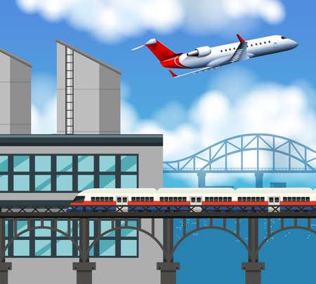 train and airport scene illustration