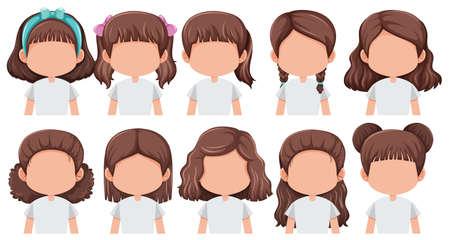 Set of faceless brunette girl character illustration