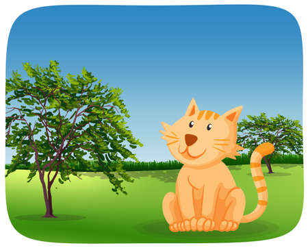 A cute cat in nature illustration Иллюстрация