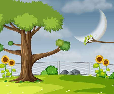 A flat garden scene illustration