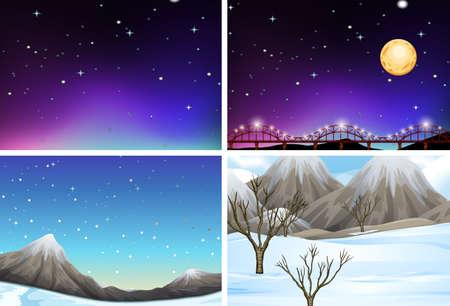 Set of different landscape scenes illustration