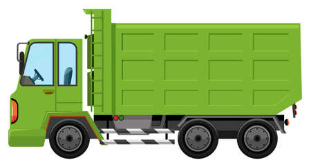 A trash truck on white background illustration