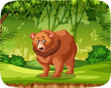 Brown bear in jungle scene illustration