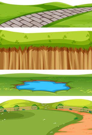 Set of park senes illustration