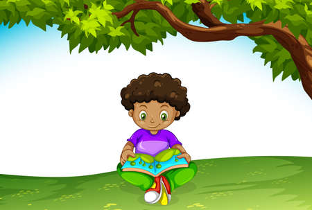 An african boy reading a book illustration
