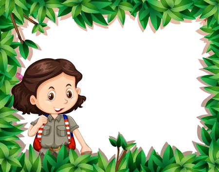 GIrl scout in nature frame illustration Иллюстрация