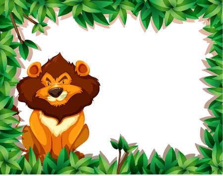 Lion in nature frame illustration